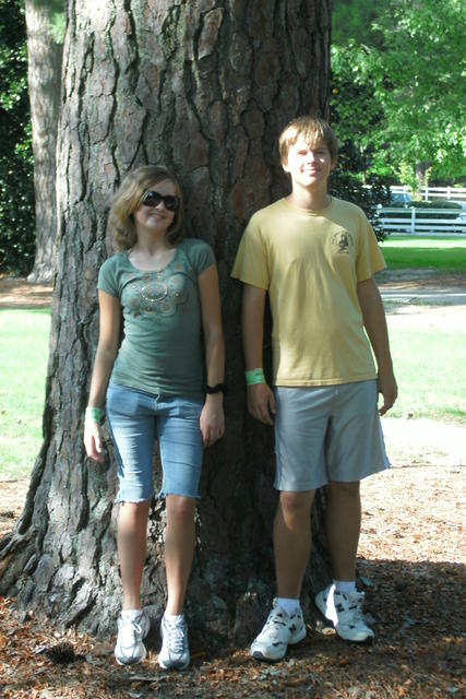Michael and Alicia in front of an enormous pine - the largest we saw and easily twelve feet in circumference